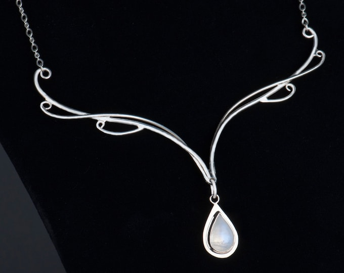 Moonstone bridal necklace sterling silver, Moonstone necklace, Fantasy Theme Wedding necklaces, Free shipping