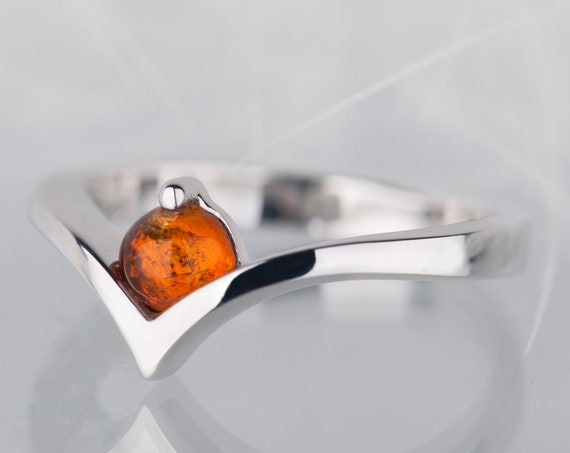 Baltic amber ring, Alternative engagement ring or promise ring for her