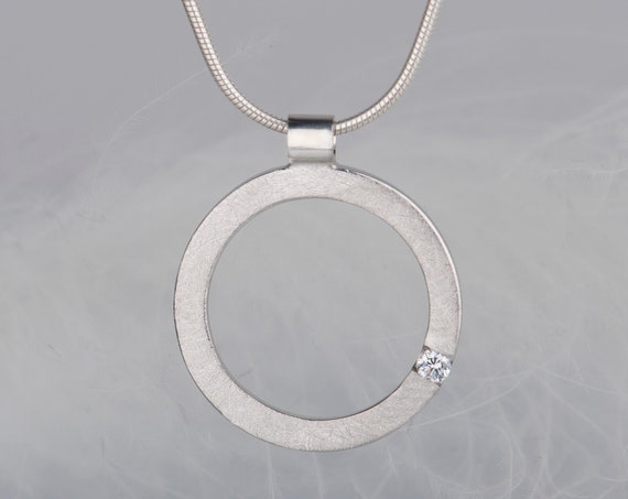 Sterling silver diamond and zircon pendant necklace, Dainty birthstone minimalist chain necklace