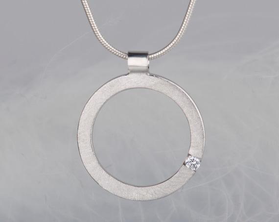 Sterling silver diamond or zircon pendant necklace
