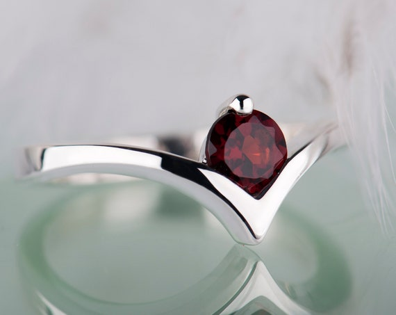 Red garnet simple engagement ring, Sterling silver bohemian garnet ring, January birthstone promise ring for her