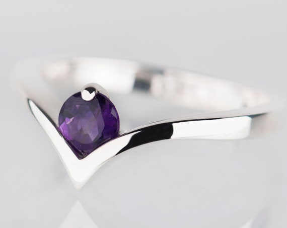 Amethyst promise ring for her, Minimalist alternative engagement ring