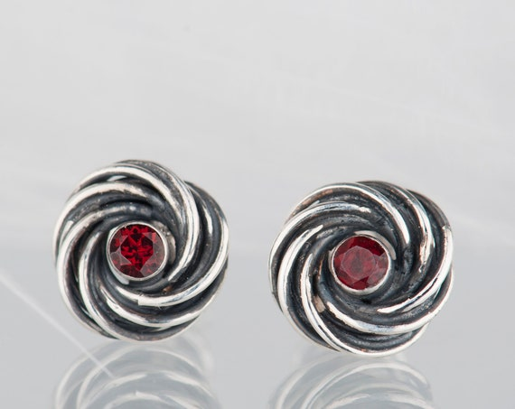 Sterling silver organic garnet earrings