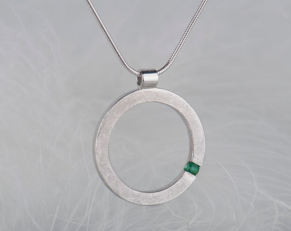 Minimalist sterling silver emerald pendant necklace, Dainty geometric modern birthstone jewelry