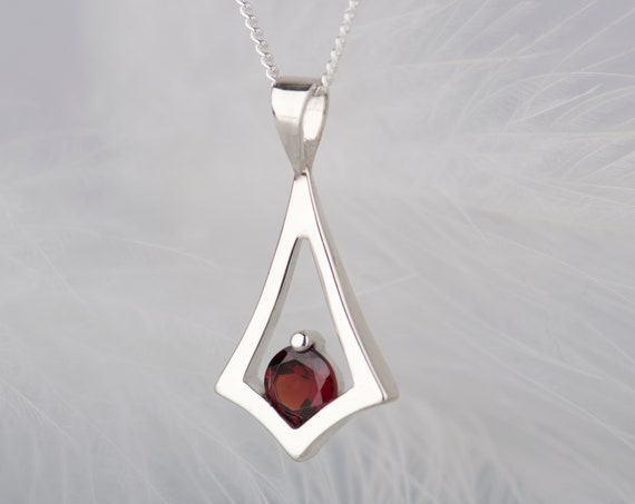 Minimalist garnet necklace, January birthstone dainty necklace