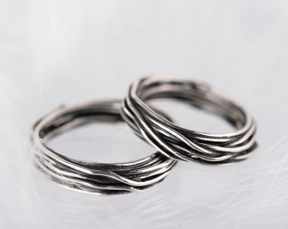 Sterling silver organic band
