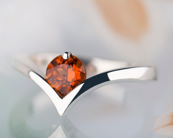 Sterling silver spessartine garnet minimalist promise ring, Orange gemstone chevron engagement ring
