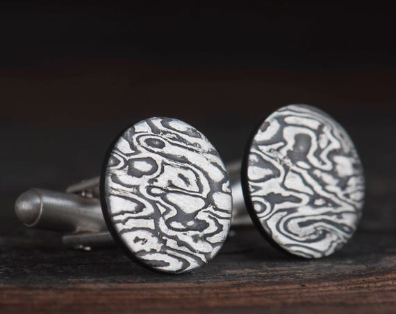 Custom Mokume Gane cufflinks for men
