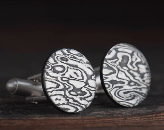 Mokume Gane for men, Mokume Gane cufflinks for groom, Custom and unique Mokume Gane wedding cufflinks