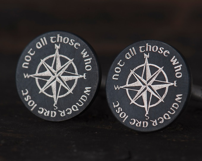 Not All Those Who Wander Are Lost, LOTR wedding Cufflinks, Compass Rose Cufflinks, Lord of the Rings Gift