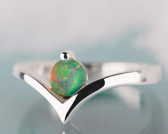 Opal engagement ring, Silver opal ring, Alternative engagement ring, October birthstone, Opal ring sterling silver