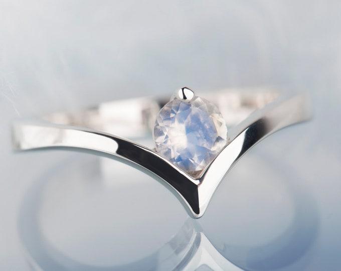 Moonstone ring,  Moonstone engagement ring, Sterling silver moonstone ring, Handmade engagement ring, Minimalist ring for women