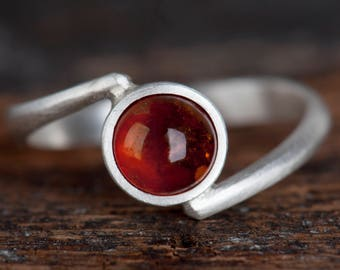 Sterling silver Baltic amber bypass ring