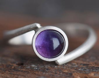 Sterling silver amethyst bypass ring