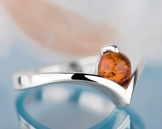 Baltic amber ring, Alternative engagement ring, Minimalist sterling silver ring