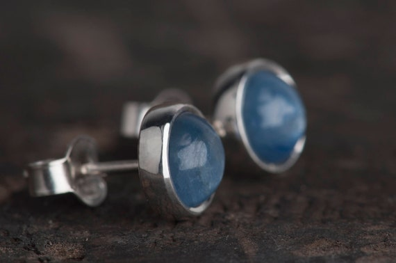 Simple sterling silver stud earrings, Kyanite, labradorite, amber, amethyst or agate studs
