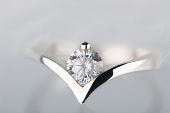14 white gold moissanite engagement ring