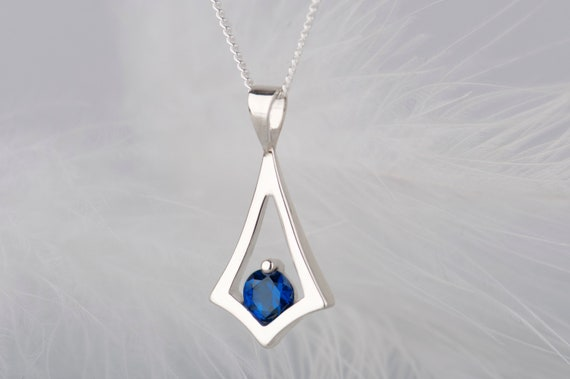 Dainty sterling silver sapphire pendant necklace