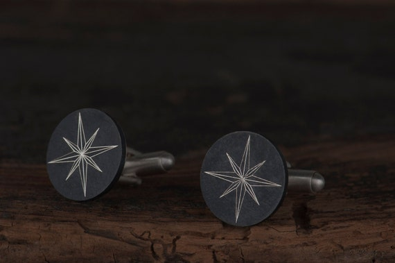 Engraved compass rose cufflinks