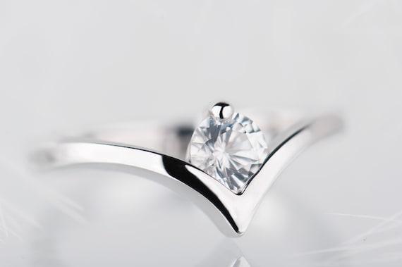 White sapphire engagement ring, Sterling silver chevron ring, Alternative minimalist promise ring for her