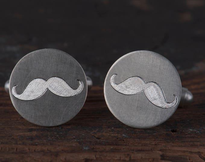 Sterling silver wedding mustache cufflinks,  Groomsmen gift, Groom gift, Father of the bride cufflinks,