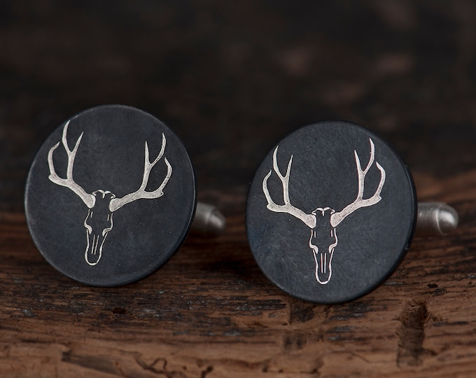 Animal skull cufflinks, unique groom cufflinks, Free shipping