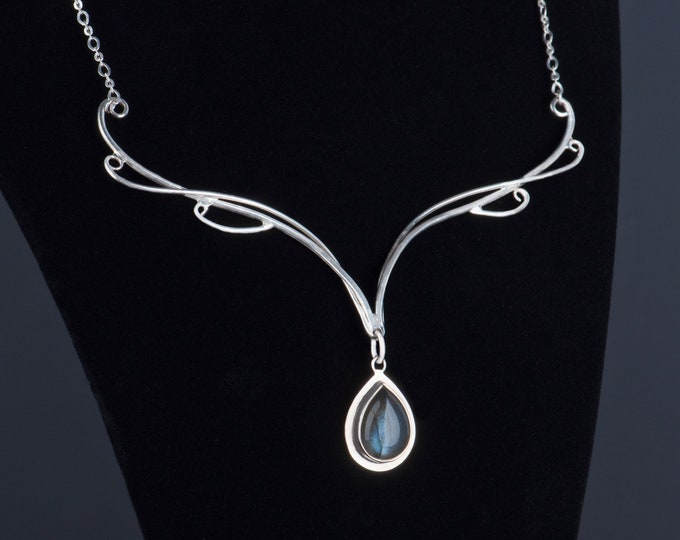 Elvish labradorite necklace, Wedding elven necklace