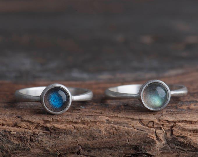 Labradorite Silver Ring, Blue Labradorite Ring, Labradorite Ring Sterling Silver, Labradorite Solitare Ring, Everyday Ring, Git for her