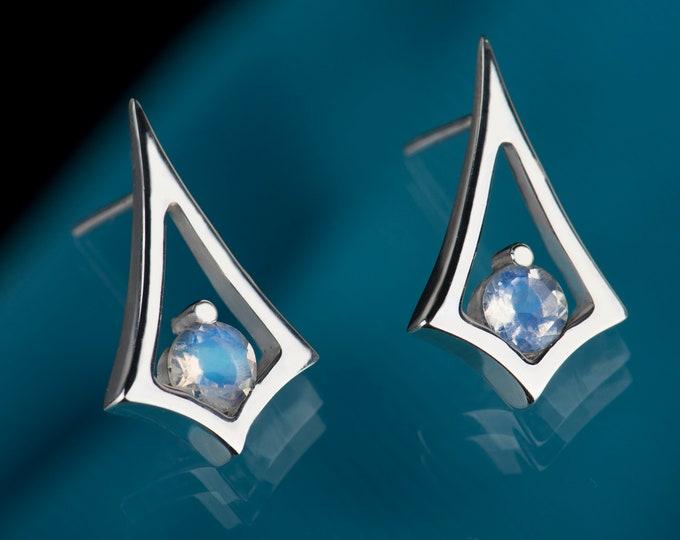 Minimalist moonstone earrings, June birthstone earrings, Zodiac Cancer earrings