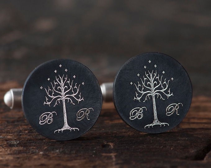 LOTR cufflinks, Lord of the Rings jewelry, LOTR wedding, Groom cufflinks with tree of Gondor