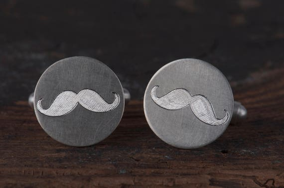 Sterling silver wedding mustache cufflinks,  Groomsmen gift, Groom gift, Father of the bride cufflinks,