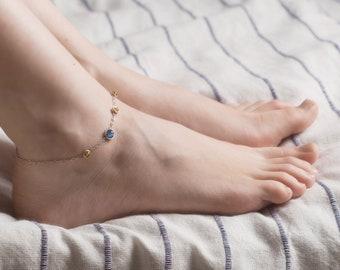 Boho baltic Amber and kyanite anklet bracelet