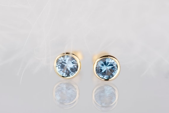14K gold aquamarine stud earrings, Minimalist wedding March birthstone earrings