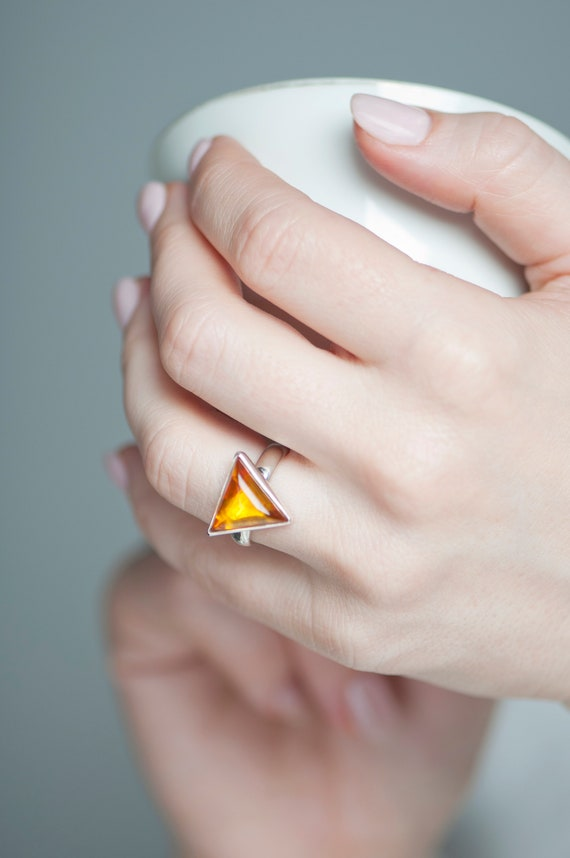 Geometric Baltic amber ring, Sterling silver natural amber minimalist ring