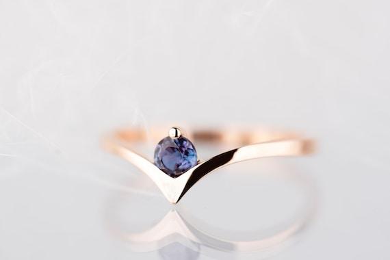 14K rose gold alexandrite engagement ring