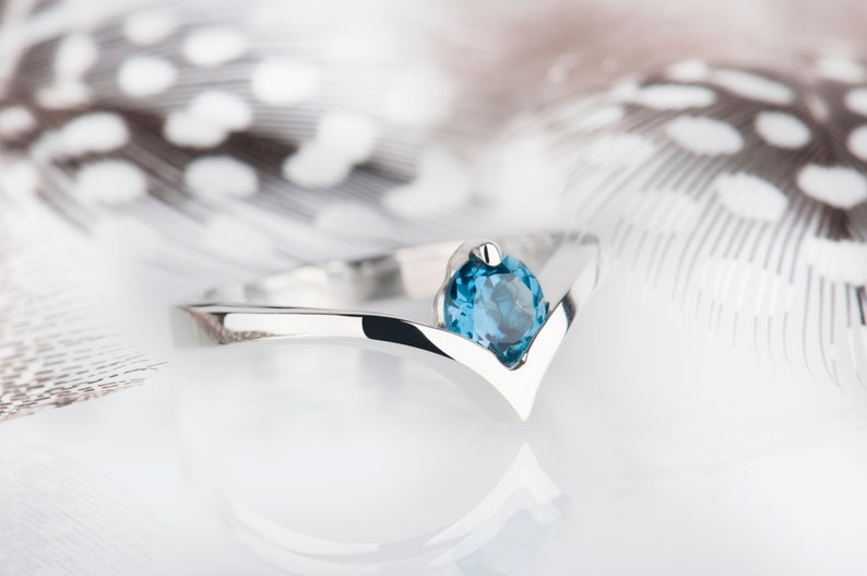 London blue topaz promise ring or engagement ring image 0