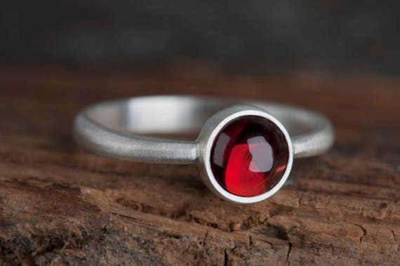 Silver Ring with Garnet, Simple Garnet Ring, Januray Birthstone Ring