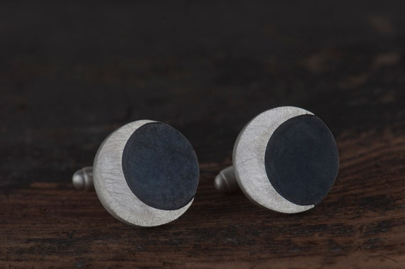 Half moon sterling silver cufflinks