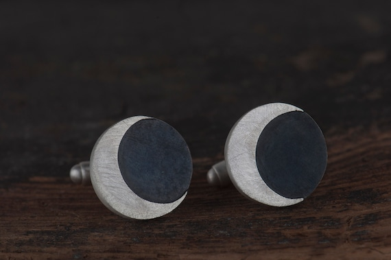 Half moon sterling silver cufflinks, Moon phase jewelry, Halloween gift for men