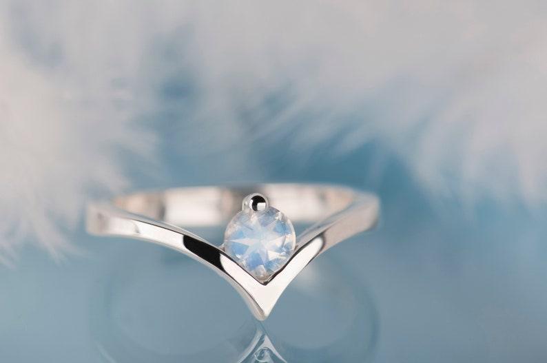 White gold moonstone chevron ring Alternative rainbow without