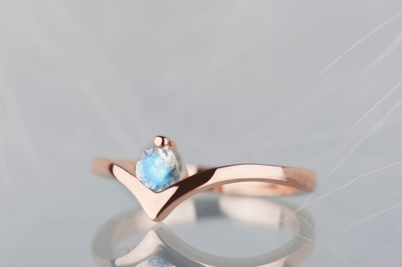 14K rose gold moonstone engagement ring, Blue moonstone chevron wedding ring