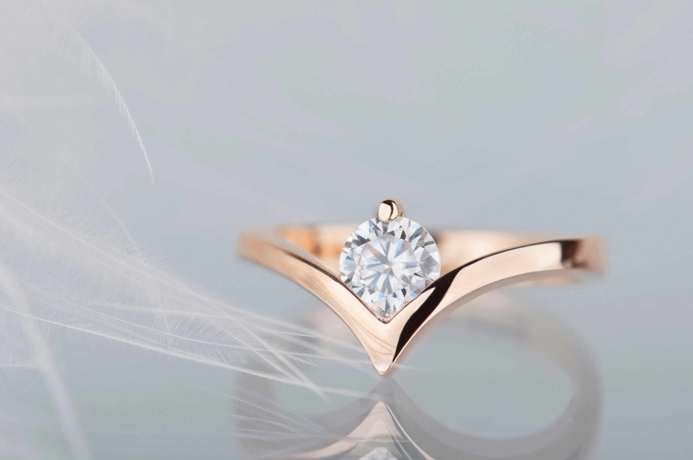 14 Rose Gold Moissanite Engagement Ring Minimalist Modern Chevron Ring
