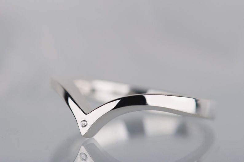 Sterling silver or 14K white gold small diamond chevron ring image 0