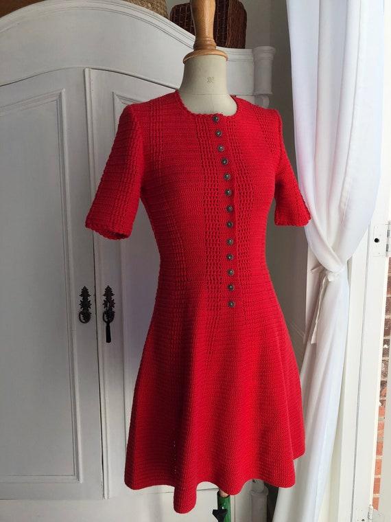 Vintage Red Crochet Dress, Handmade, Handknitted,