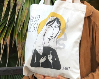 SORR UESH, recycled Tote bag, vintage white cotton