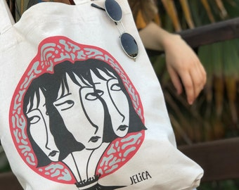 The 3 heads, recycled Tote bag, vintage white cotton