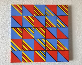 Abstract Geometric Acrylic Painting, Wall Decor, Canvas Wall Art, Unique Gift, All Proceeds Donated to Charity! FREE SHIPPING