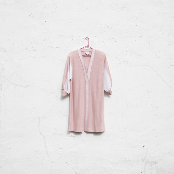 vintage | 80's twin peaks | pink + white | sweate… - image 1