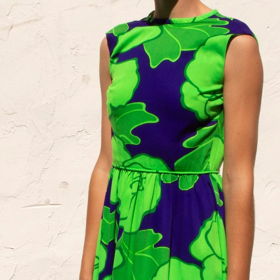 70's lime green and cobalt blue floral dress