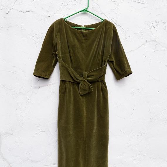 olive green velvet dress | hand made | vintage | 6